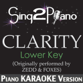 Clarity (Lower Key) [Originally Performed By Zedd & Foxes] [Piano Karaoke Version]