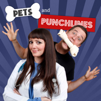 Podcast cover art for Pets and Punchlines: Comics with pets talking to vets!