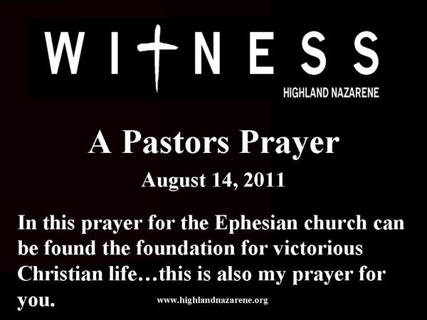 Highland Nazarene - A Pastor's Prayer
