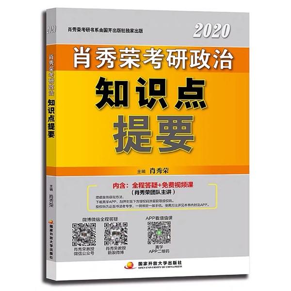 2020肖秀荣考研政治知识点提要
