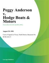 Peggy Anderson V. Hodge Boats & Motors