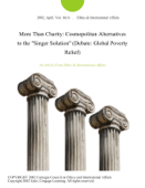 More Than Charity: Cosmopolitan Alternatives to the