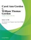 Carol Ann Gordon V William Thomas Gordon