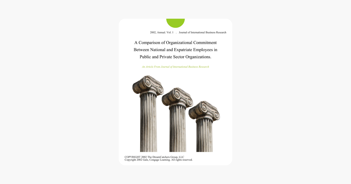 A Comparison of Organizational Commitment Between National and Expatriate  Employees in Public and Private Sector Organizations