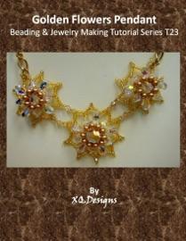 Golden Flowers Pendant Beading Jewelry Making Tutorial Series T23