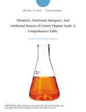 Metabolic, Nutritional, Iatrogenic, And Artifactual Sources Of Urinary Organic Acids: A Comprehensive Table.
