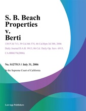 S. B. Beach Properties V. Berti