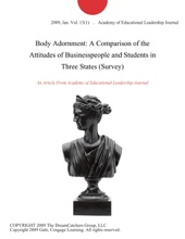 Body Adornment: A Comparison Of The Attitudes Of Businesspeople And Students In Three States (Survey)