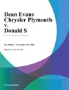Dean Evans Chrysler Plymouth V Donald S