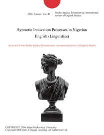 Syntactic Innovation Processes In Nigerian English Linguistics