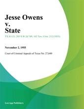 Jesse Owens V. State