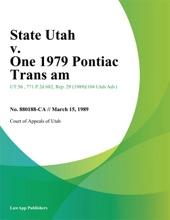 State Utah v. One 1979 Pontiac Trans Am