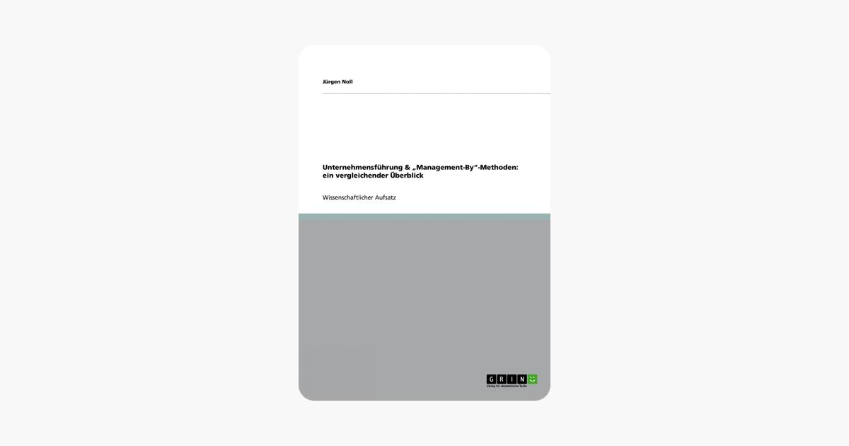 """Unternehmensführung & """"Management-By""""-Methoden: ein vergleichender Überblick (German Edition)"""