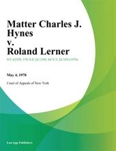Matter Charles J. Hynes V. Roland Lerner