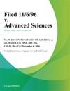 Filed 11696 V Advanced Sciences