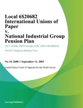 Local 6$20682 International Unions Of Paper V. National Industrial Group Pension Plan