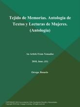 Tejido De Memorias. Antologia De Textos Y Lecturas De Mujeres (Antologia)