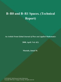 B--[R.SUB.0] AND B--[R.SUB.1] SPACES (TECHNICAL REPORT)