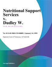 Nutritional Support Services V. Dudley W.