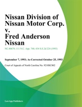 Nissan Division of Nissan Motor Corp. v. Fred Anderson Nissan