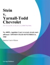 Stein V Yarnall-Todd Chevrolet