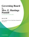 Governing Board V Mrs F Hastings Pannill