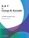 121694 K  T V George B Koroulis