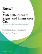 Russell V. Mitchell-Putnam Signs And Insurance Co.