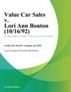 Value Car Sales V Lori Ann Bouton