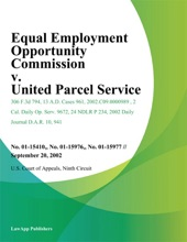 Equal Employment Opportunity Commission V. United Parcel Service