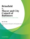 Brinsfield V Mayor And City Council Of Baltimore