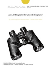IASIL Bibliography For 2007 (Bibliography)