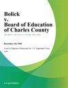 Bolick V Board Of Education Of Charles County