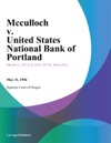 Mcculloch V United States National Bank Of Portland