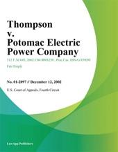 Thompson V. Potomac Electric Power Company