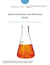 Student Award Winners at the 2006 Annual Meeting.