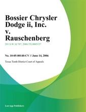 Bossier Chrysler Dodge II, Inc. v. Rauschenberg
