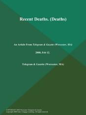 Download and Read Online Recent Deaths (Deaths)
