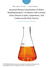 Increased Plasma Concentration Of Matrix Metalloproteinase-7 In Patients With Coronary Artery Disease (Lipids, Lipoproteins, And Cardiovascular Risk Factors)