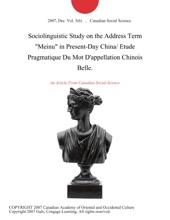 Sociolinguistic Study On The Address Term