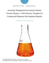 Assessing 'Management Investment Scheme' Forestry Projects: A Best-Practice Template For Commercial Plantation Development (Report)