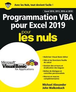 Programmation VBA pour Excel 2019 Pour les Nuls par John Walkenbach & Michael Alexander Couverture de livre