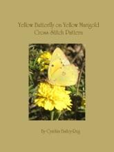 Yellow Butterfly on Yellow Marigold Flower Cross Stitch Pattern