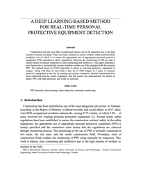 A DEEP LEARNING-BASED METHOD FOR REAL-TIME PERSONAL PROTECTIVE EQUIPMENT DETECTION