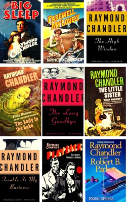 Philip Marlowe Series Raymond Chandler 9 Books:  The Big Sleep, Farewell My Lovely, The High Window, The Lady in the Lake, The Little Sister, The Long Goodbye, Playback, Trouble Is My Business, Poodle Springs.