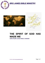 THE SPIRIT OF GOD HAS MADE ME
