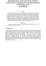 PERFORMANCE ANALYSIS OF RF ENERGY HARVESTING COOPERATIVE COMMUNICATION NETWORKS WITH  DF SCHEME