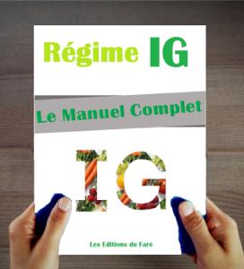 Le Manuel du Régime IG : Index Glycémique. Le Guide du régime, Conseils Pratiques, Recettes et Menus. La couverture du livre martien