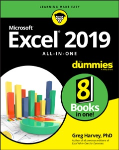 Excel 2019 All-in-One For Dummies Book Cover