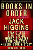 Jack Higgins Book in Order: Sean Dillon series, Liam Devlin series, Munro and Carter, Paul Chavasse, Martin Fallon, Nick Miller, Simon Vaughn, Rick and Jade Chance, all standalone novels, plus a Jack Higgins biography.